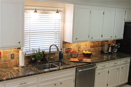white kitchen cabinets with granite counters