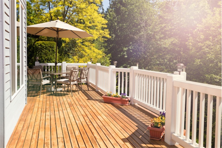 house deck with white fence