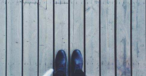 shoes on a wooden deck