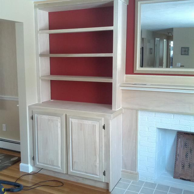 Custom built book shelves by Mr. Handyman