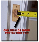 """One inch of wood protecting you"" diagram"