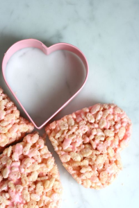Heart-shaped rice krispies