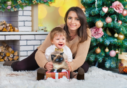 Woman, child, and cat in a holiday photo