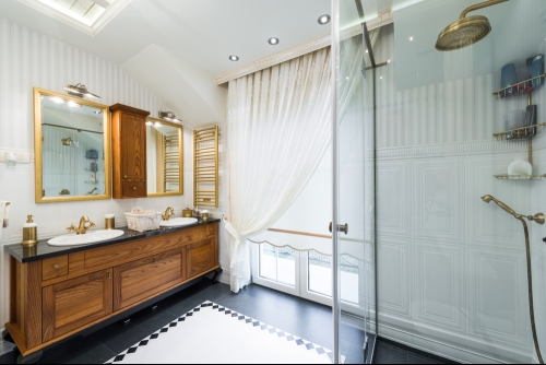 white bathroom with  curtained window