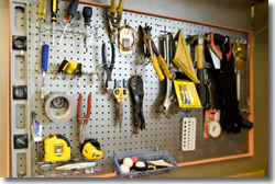 Garage Organization with pegboard for tools