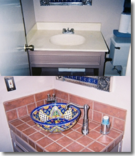 Before and After Bathroom Sink Converted to tile with ceramic bowl.