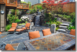 Patio Improvements - Furniture, Steps, and Watefall