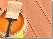 Deck Staining and Sealing - Sealer and Paint Brush