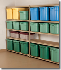 Neatly stacked garage storage bins