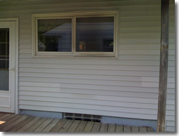 Vinyl Siding after repairs caused by hot propane grill