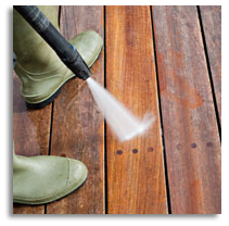 power washing wooden deck