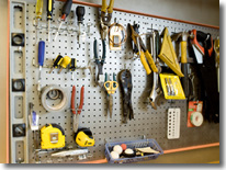 Garage Organization, Tools on Peg Board