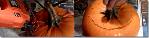 Cutting a Pumpkin Lid with a Jigsaw