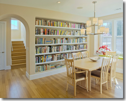 Custom Built-In Bookcase in Dining Room