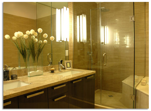 traditional bathroom with glass and mirrors