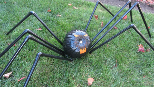 Completed PVC Pumpkin Spider