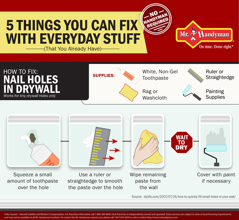 How to Fix: Nail Holes in Drywall infographic