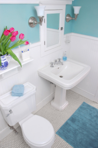 white and blue bathroom