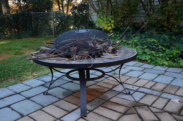 fire pit filled with leaves